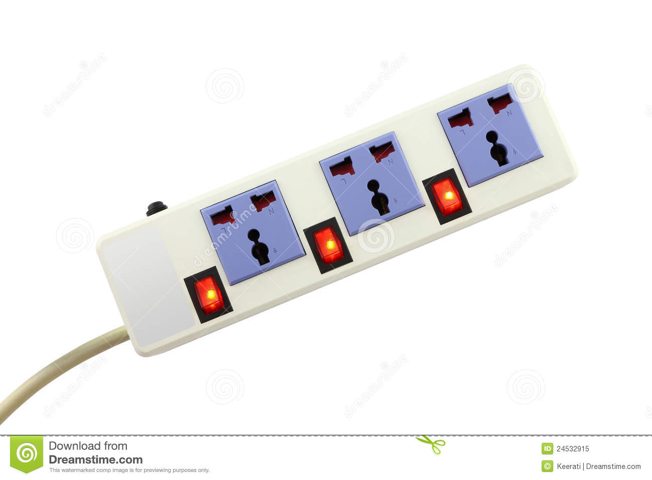 Animation Extension Lead : Electric outlet for extend cable royalty free stock photo
