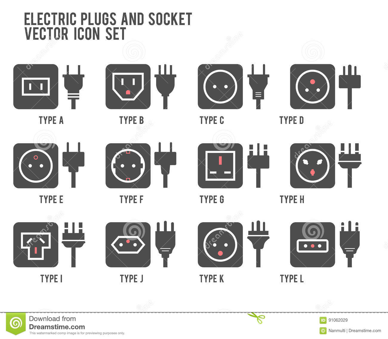 Stock Illustration Electric Outlet Illustration Different Type Power Socket Set Vector Isolated Icon Illustration Different Country Plugs Powe Image91062029 on types of audio plugs