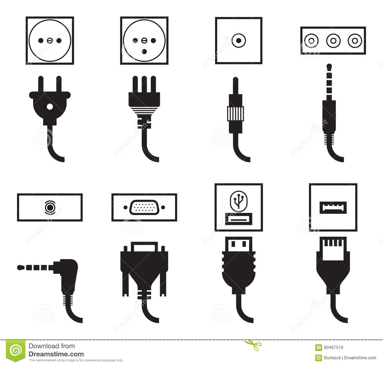electric outlet and plug icons set stock vector
