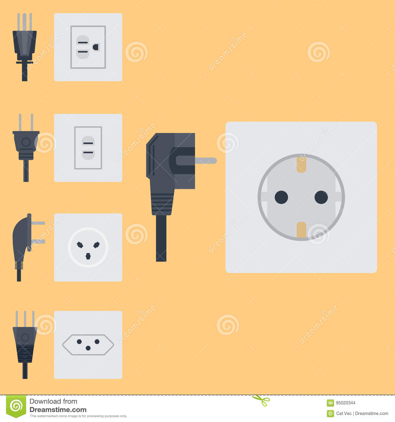 Electric Outlet Vector Illustration Energy Socket Electrical Outlets Wiring A Plug Plugs European Appliance Interior Icon