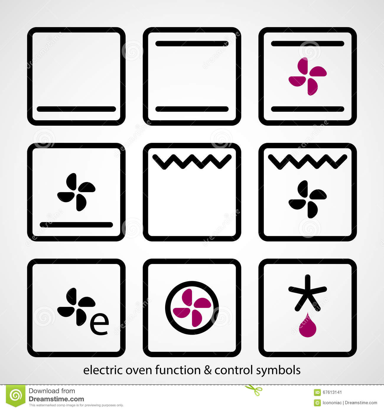 electric oven function control symbols stock vector image 67613141. Black Bedroom Furniture Sets. Home Design Ideas