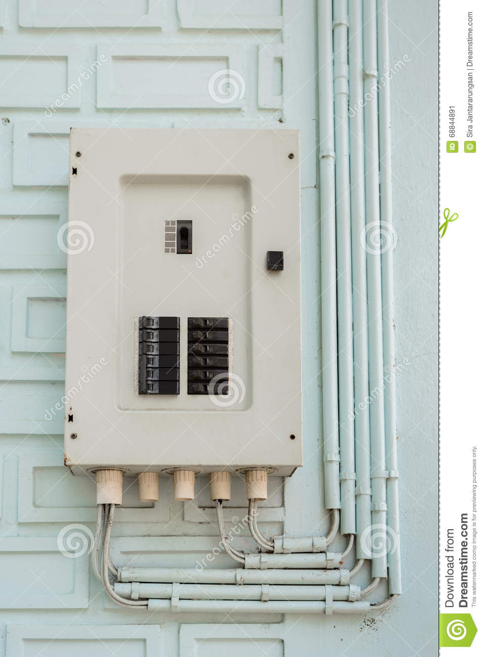 electric panel  fuse box and power pipe line stock photo