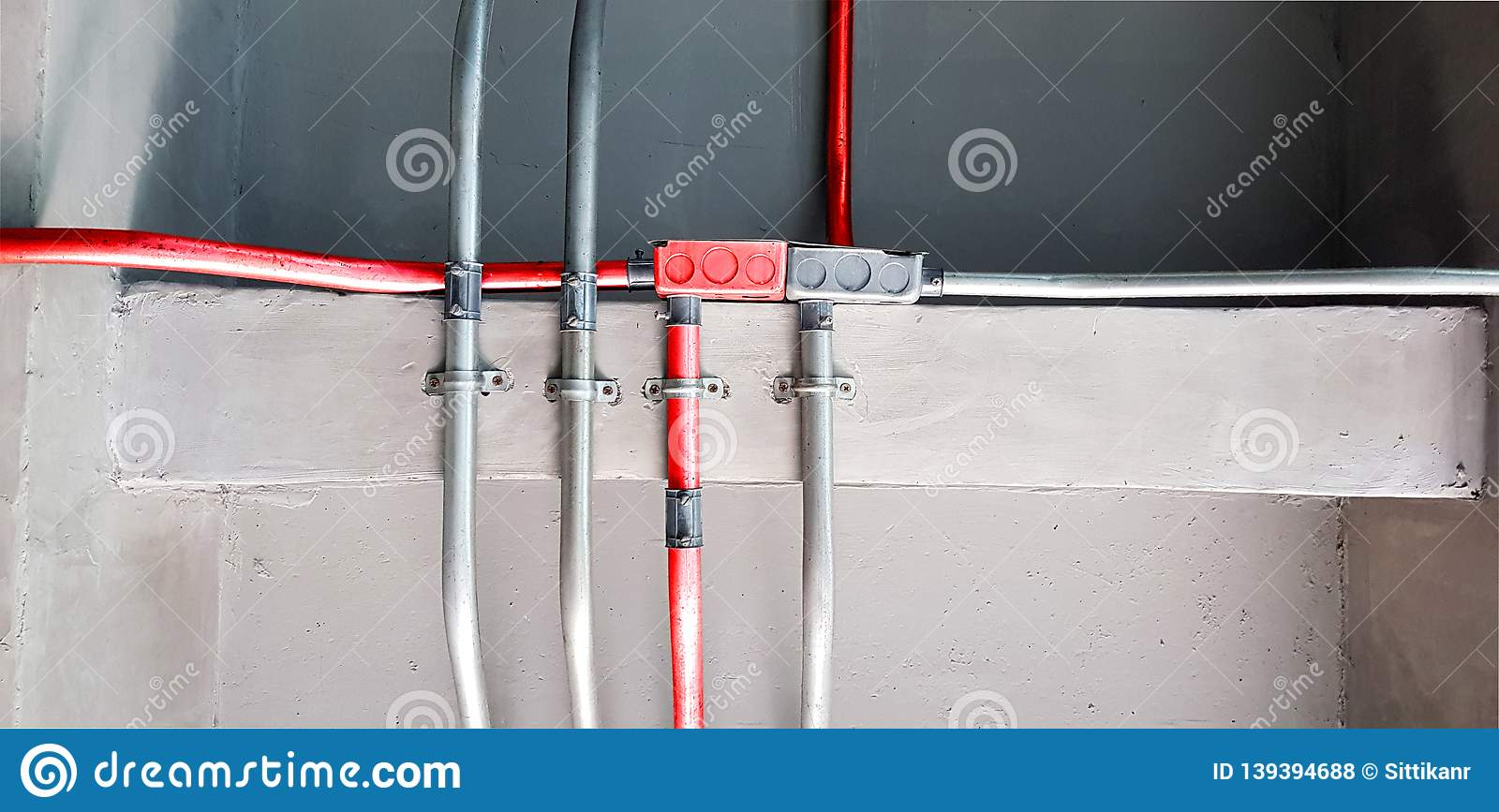 Electric Pipes And Red Electric Pipes For Safety Systems In ... on