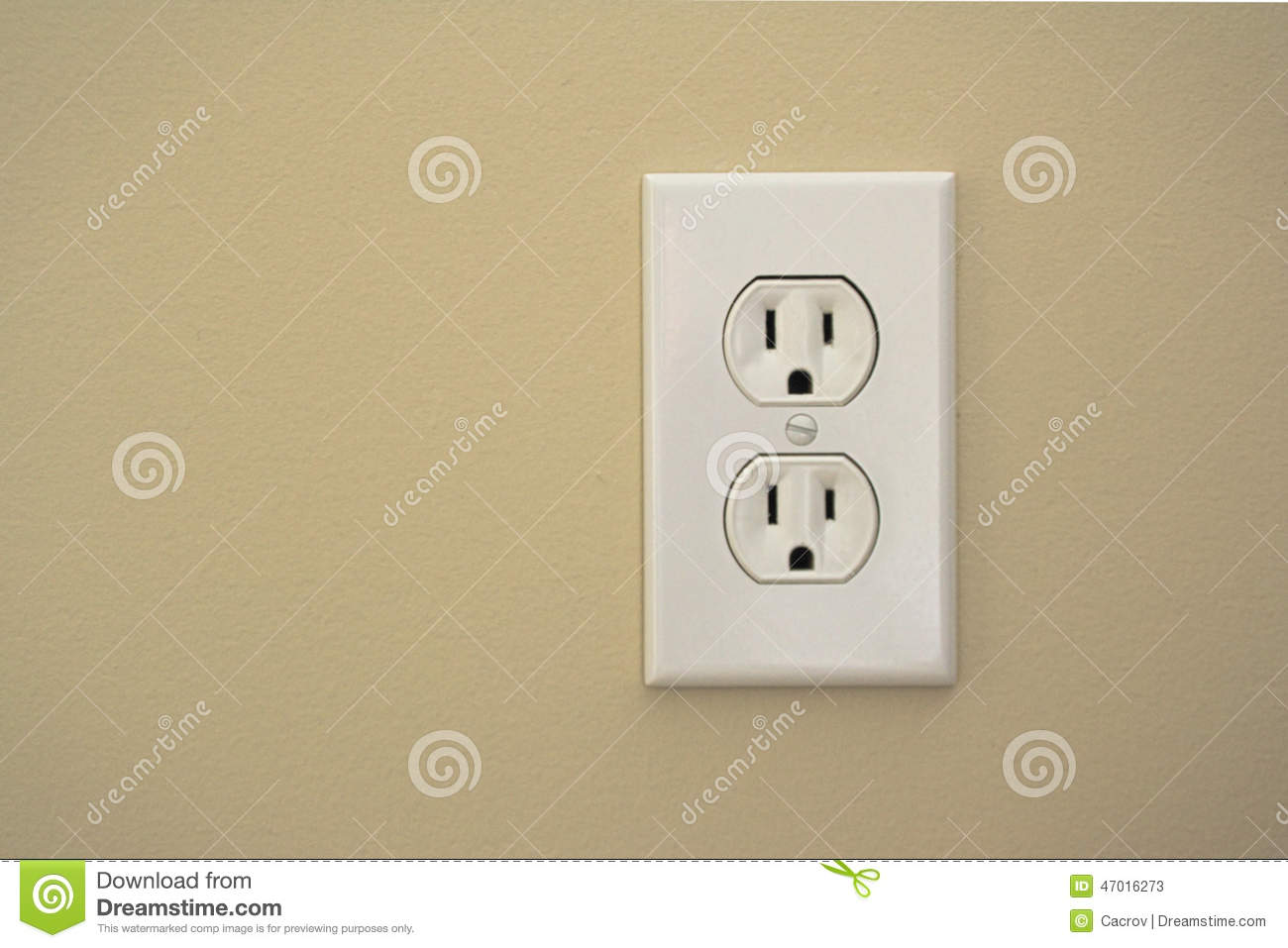 Electric Plug Connector (outlet) On A Beige Wall Stock Image - Image ...