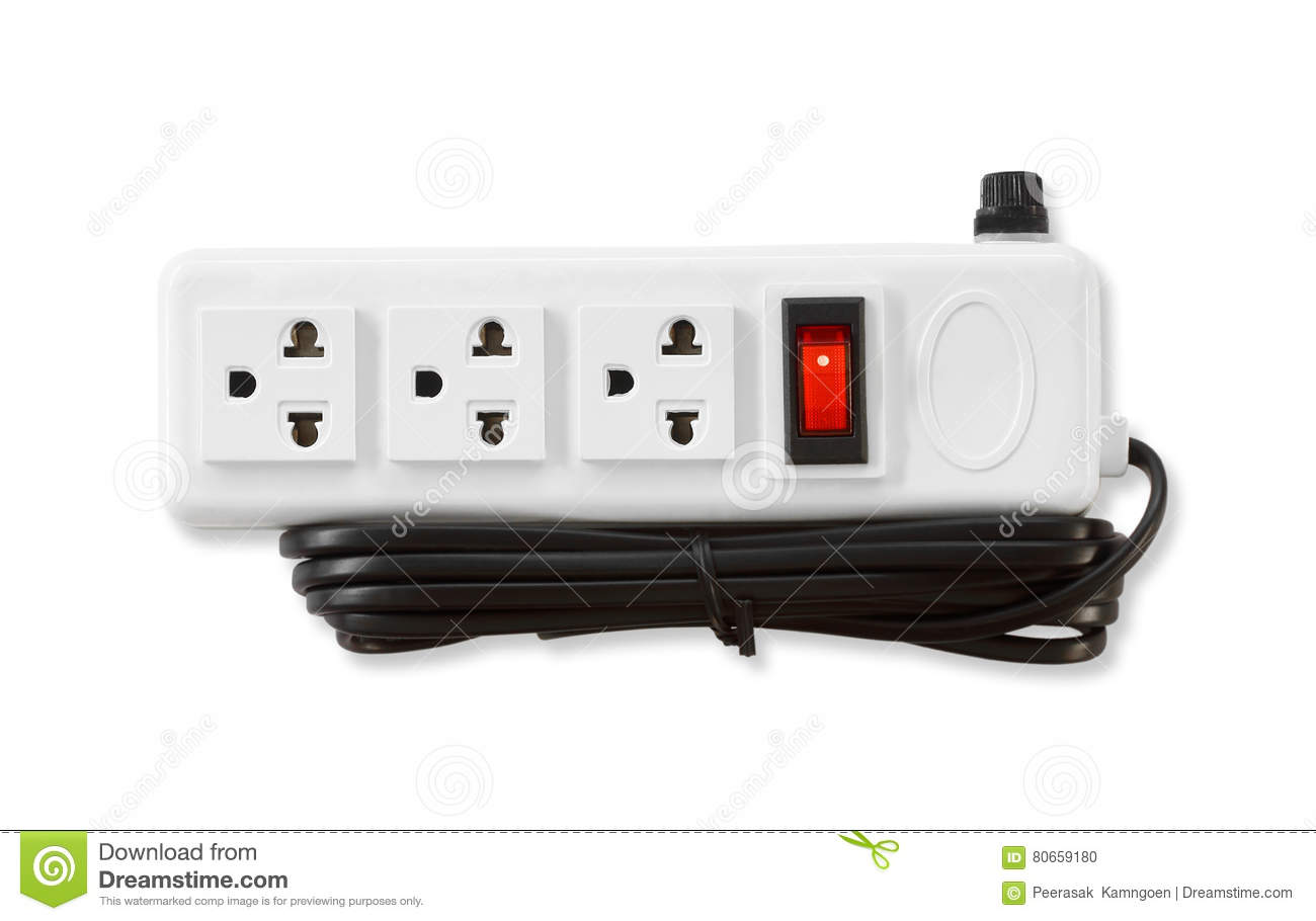 Electric plugs and a socket on white background