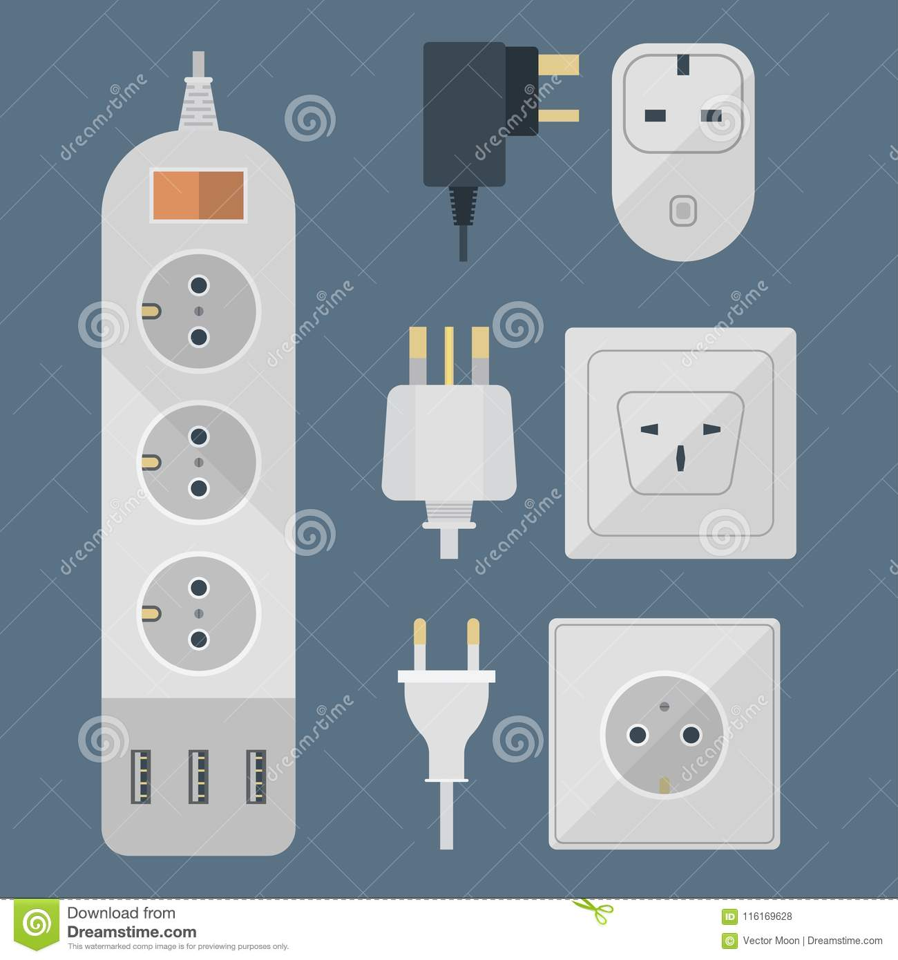 Electric Plugs Stack Outlet Illustration Energy Socket Electrical Wiring Outlets European And Usa Asia Appliance