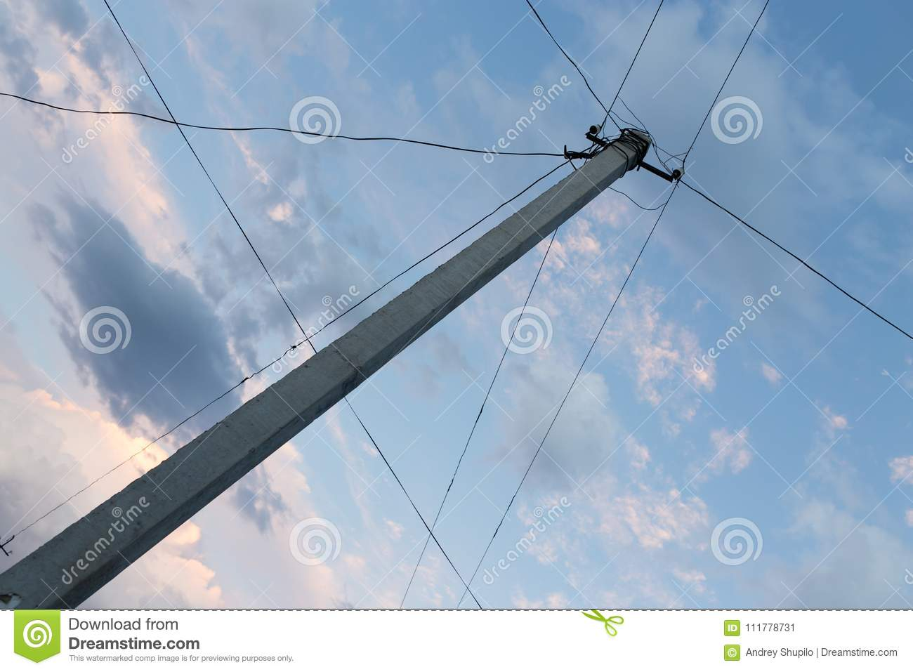 Electric pole on the background of night sky