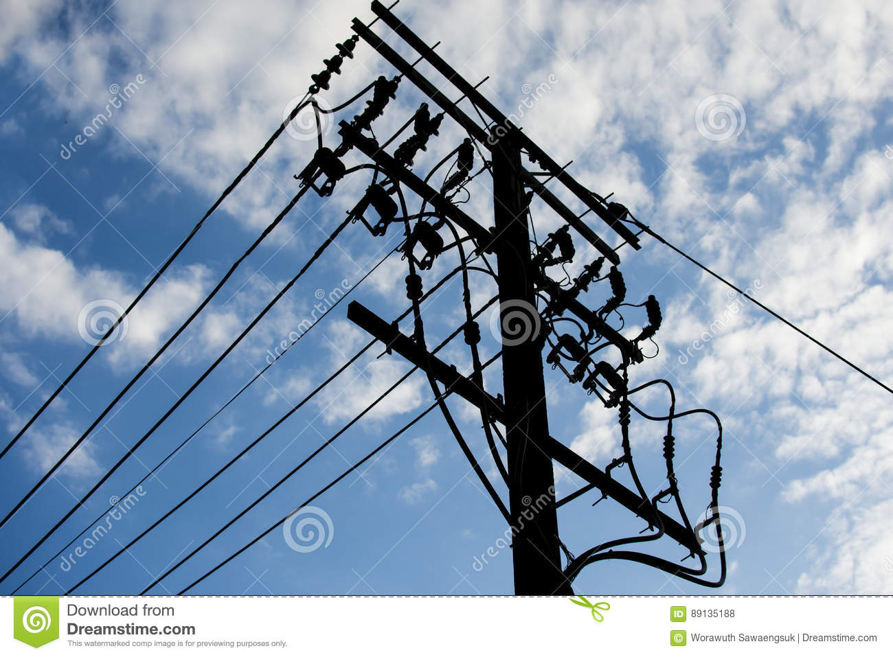 High Voltage Electrical Wire : Electric pole connect to the high voltage wires
