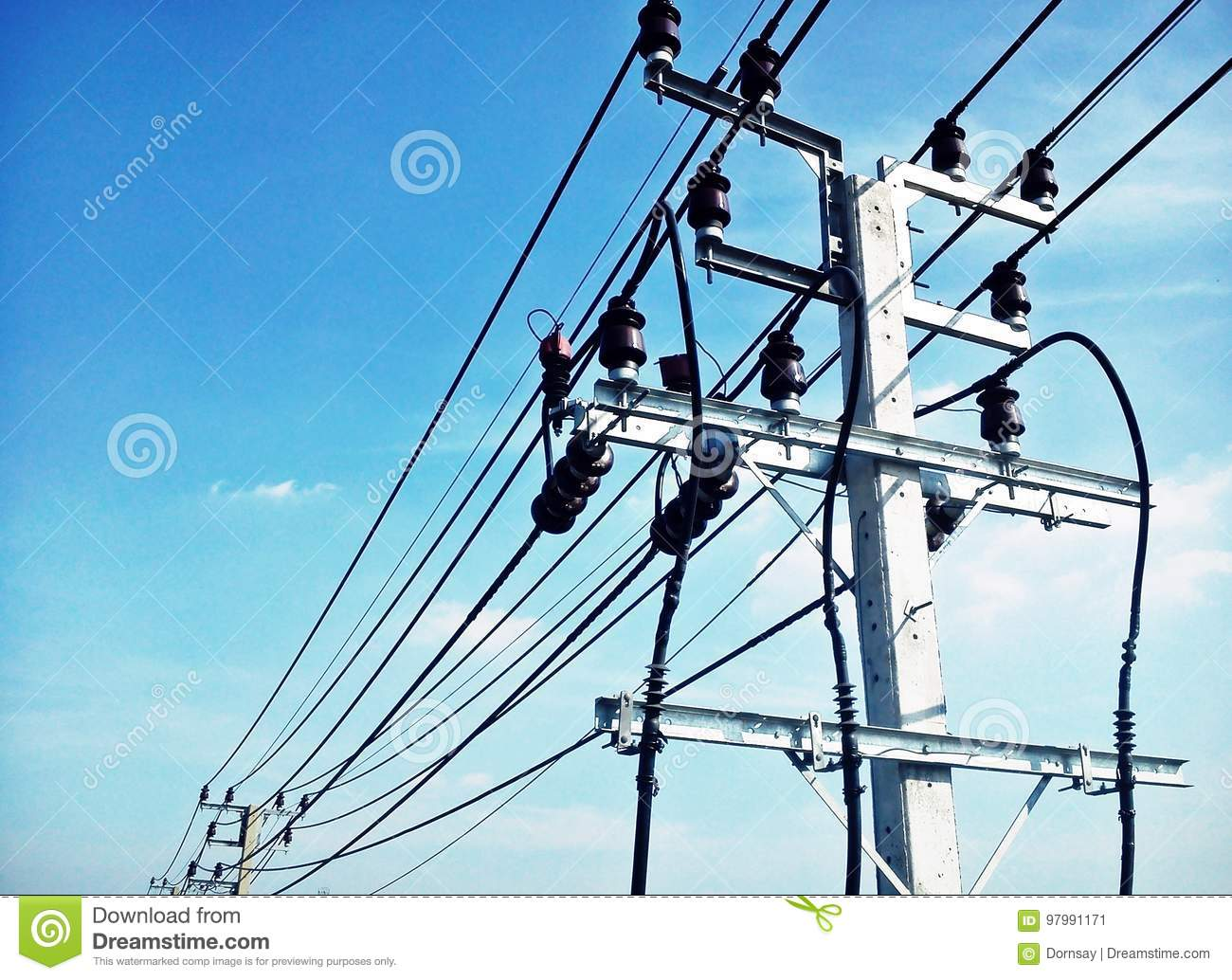 High Voltage Electricity Wires And Poles Stock Photos Image Wiring 800pxboeboeledswitchledbreadboardjpg Electric Pole Connect To The On Blue Sky Rh Dreamstime Com