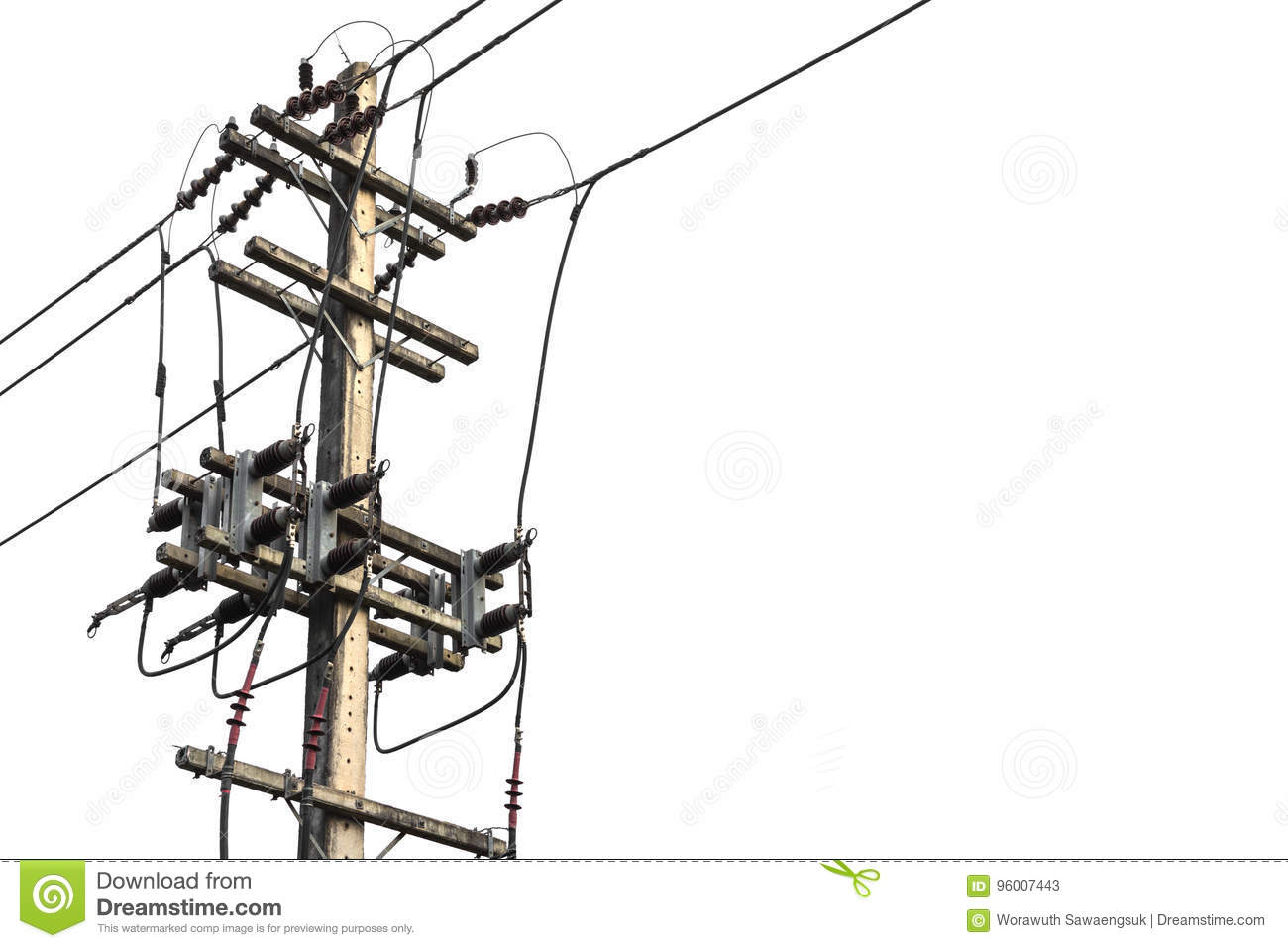 Electric Pole Connect To The High Voltage Electric Wires Isolated On ...