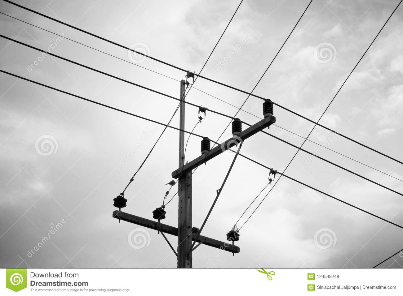 Electric Pole And Many Wire In Thailand, Black And White. Stock ...
