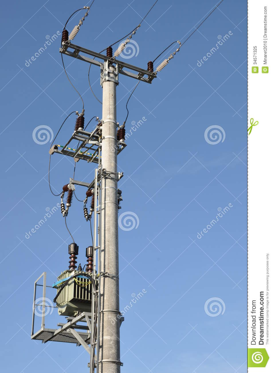 Electric Pole With A Transformer Royalty Free Stock Photo