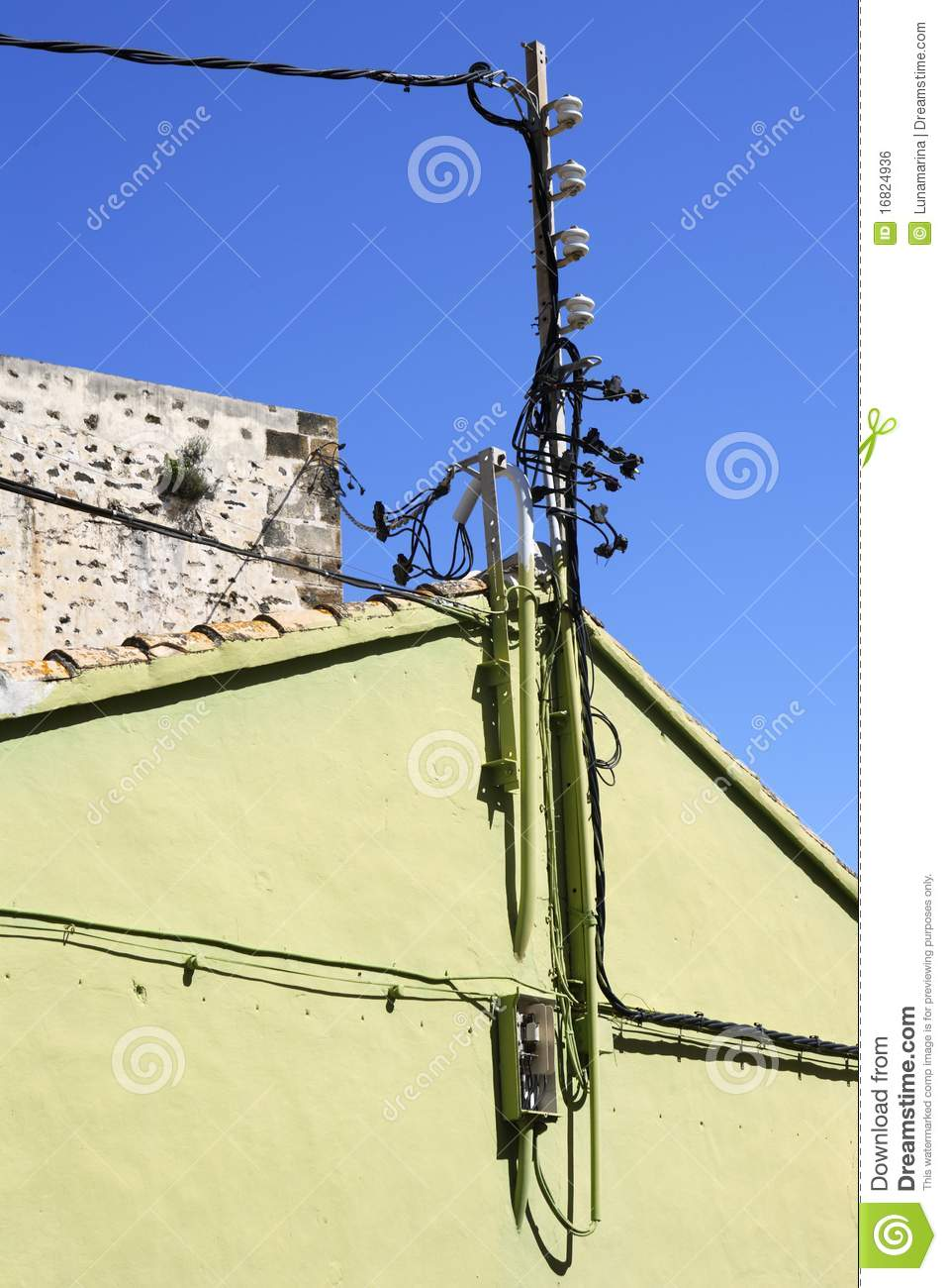 Strange Electric Pole Wire Cable Detail Green House Stock Photo Download Free Architecture Designs Sospemadebymaigaardcom