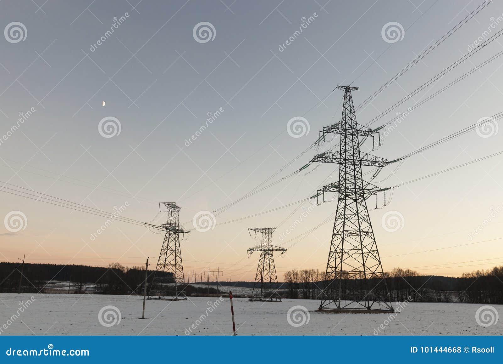 Electric poles, winter