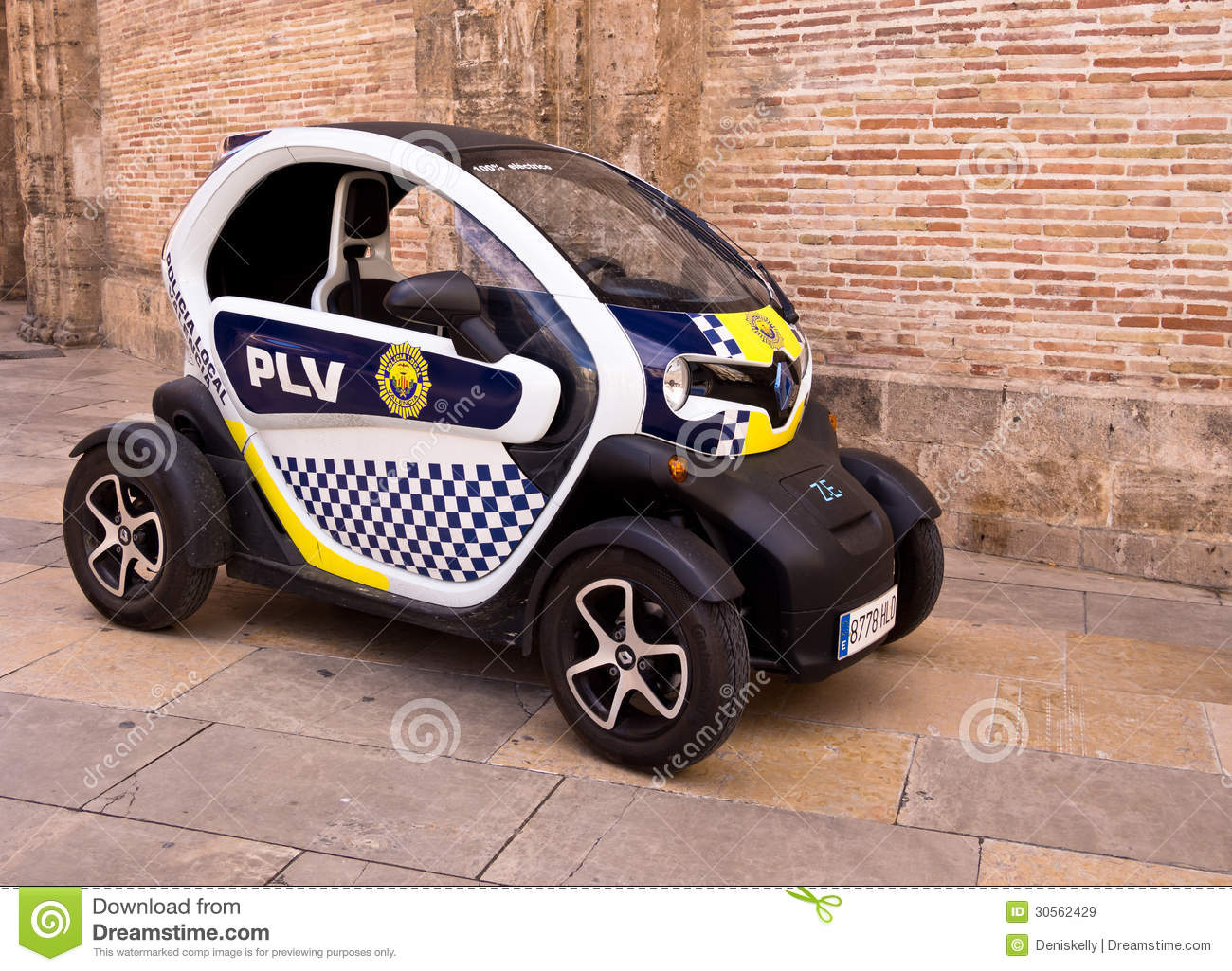 Electric Police Car In Valencia City Spain Editorial Stock Image