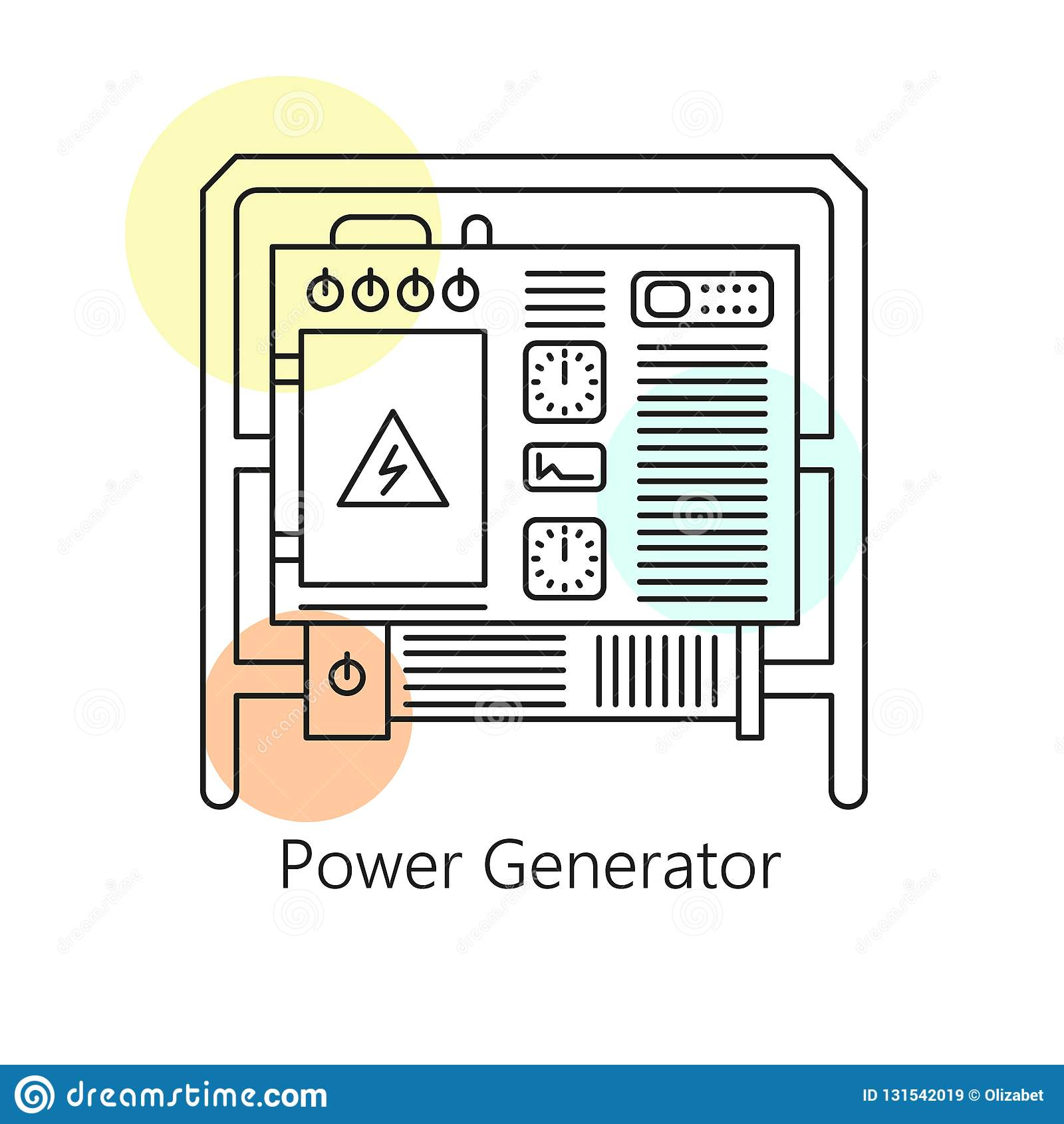 Power generator icon Emergency Power Electric Power Generator Accumulator Thin Line Art Vector Icon Illustration Power Generator Accumulator Thin Line Art Vector Icon Stock Vector