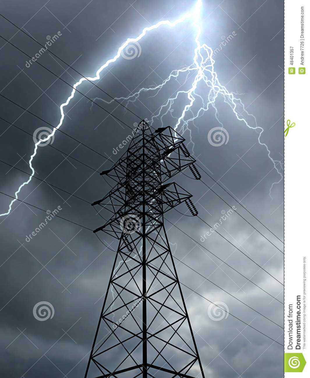 Electric Power Line And Lightning Stock Photo Image