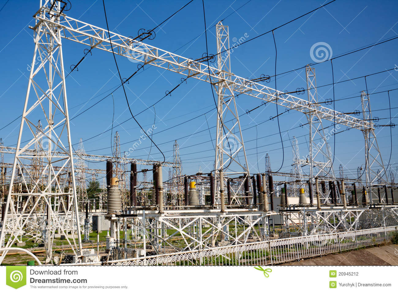 Electric power station with poles cables and powerful transformers.