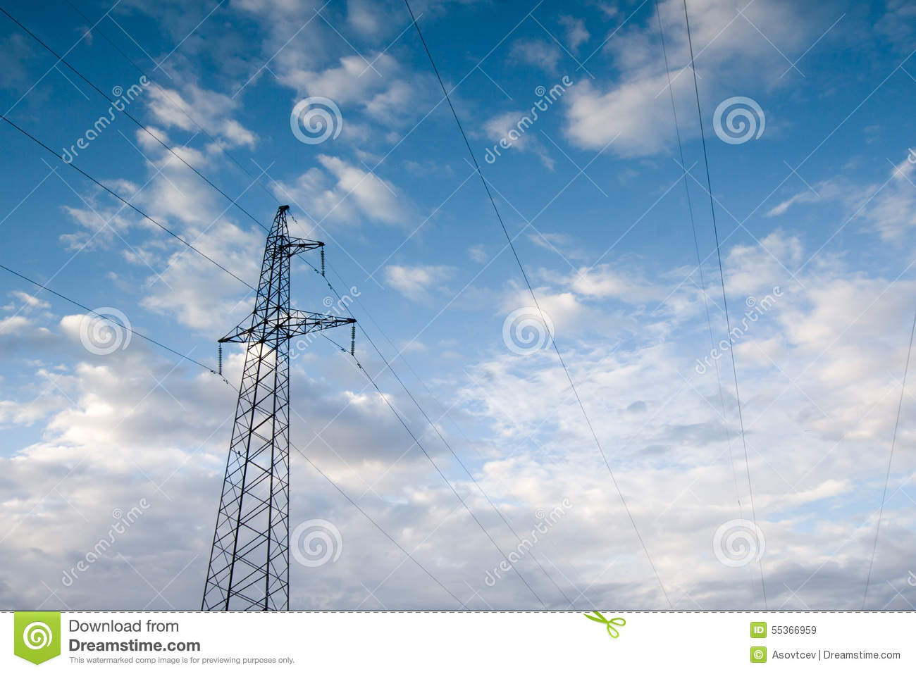 Electric power station lines, on the blue sky backing