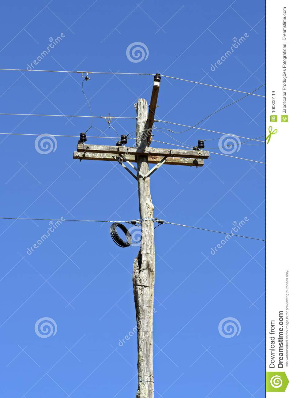 Electric Power Transmission Pole Made From Raw Tree Trunk Stock Electrical Installation Wiring Pictures Trunking