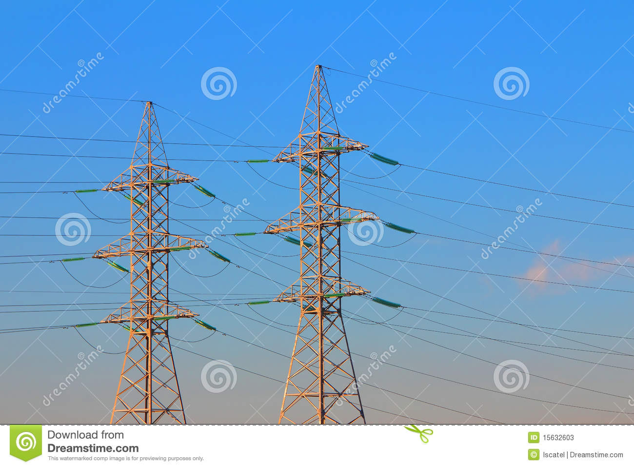 Electric Power Transmission : Electric power transmission towers stock image of