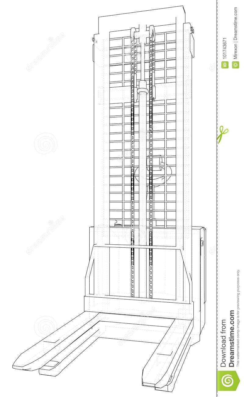 Electric Powered Forklift. Concept Logistics Transport. Wire-frame ...