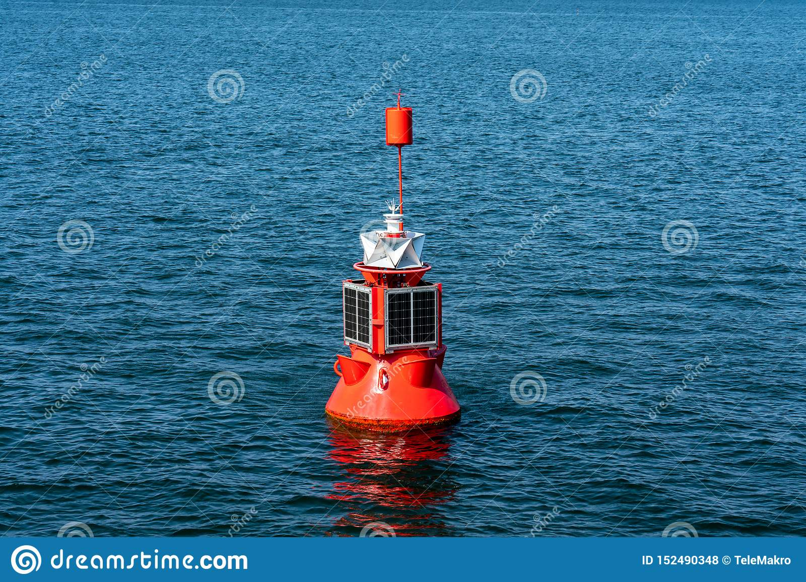 Electric red buoy with solar panel