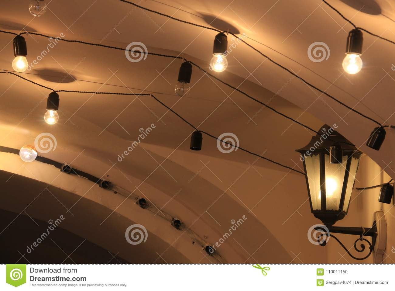 Electric Retro Lights Under The Ceiling Stock Photo Image Of Bend Glass 110011150