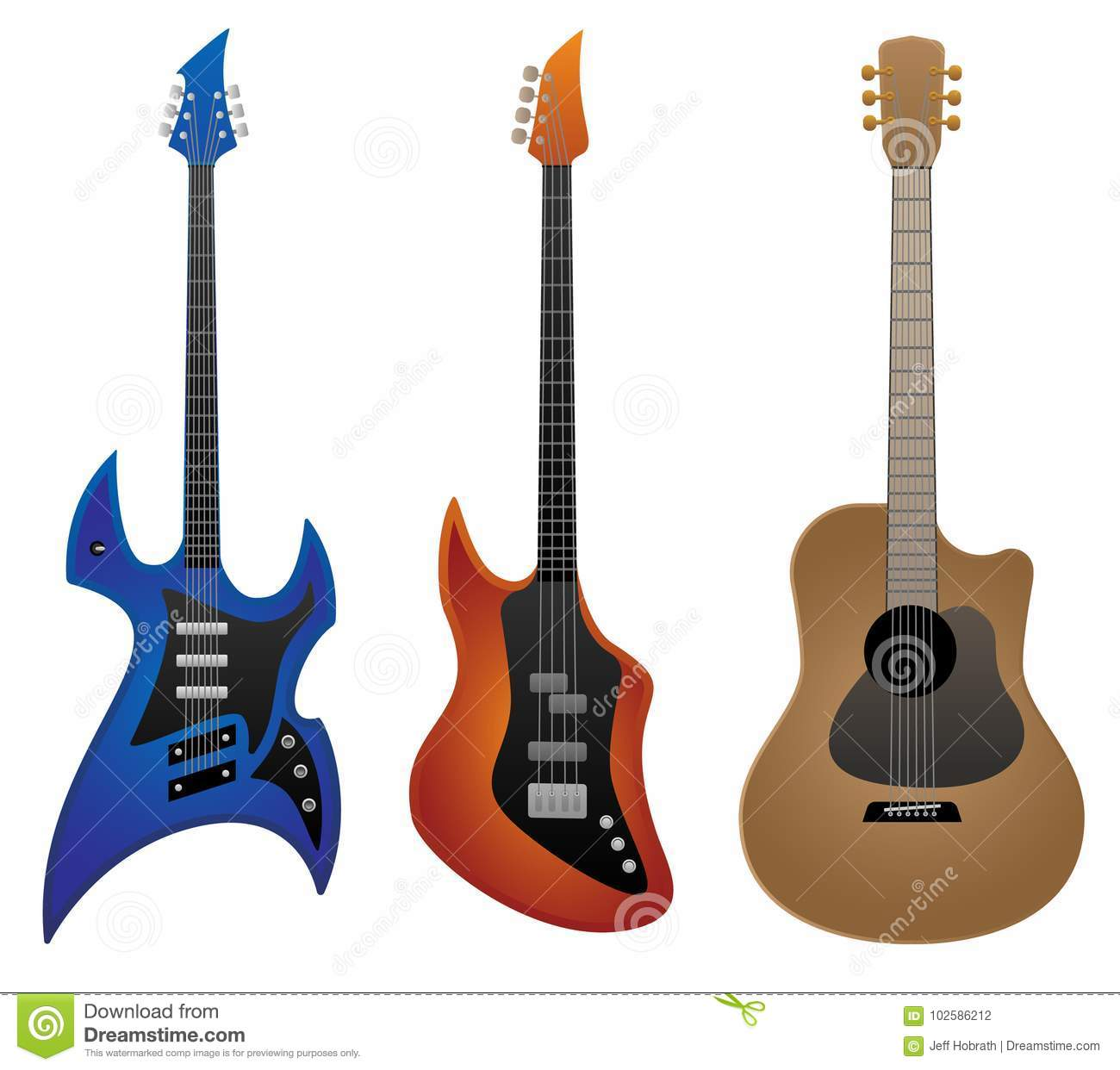 electric rock guitar bass guitar and acoustic guitar vector rh dreamstime com acoustic guitar vector art acoustic guitar vector free download