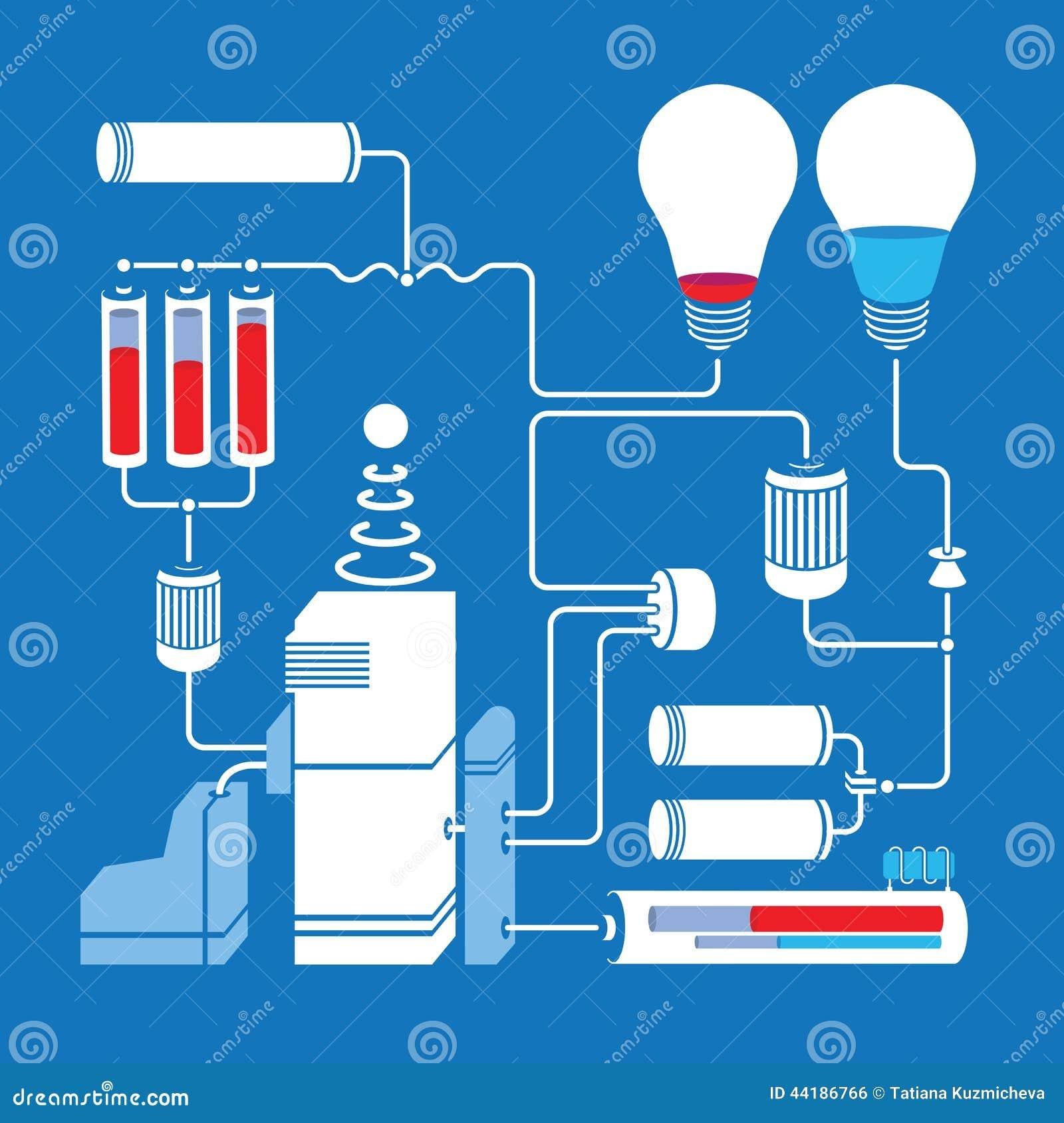 Electric Scheme With Light Bulbs Batteries And Stock Vector Lightbulbsymbolcircuitdiagram Bulb Symbol Circuit Diagram