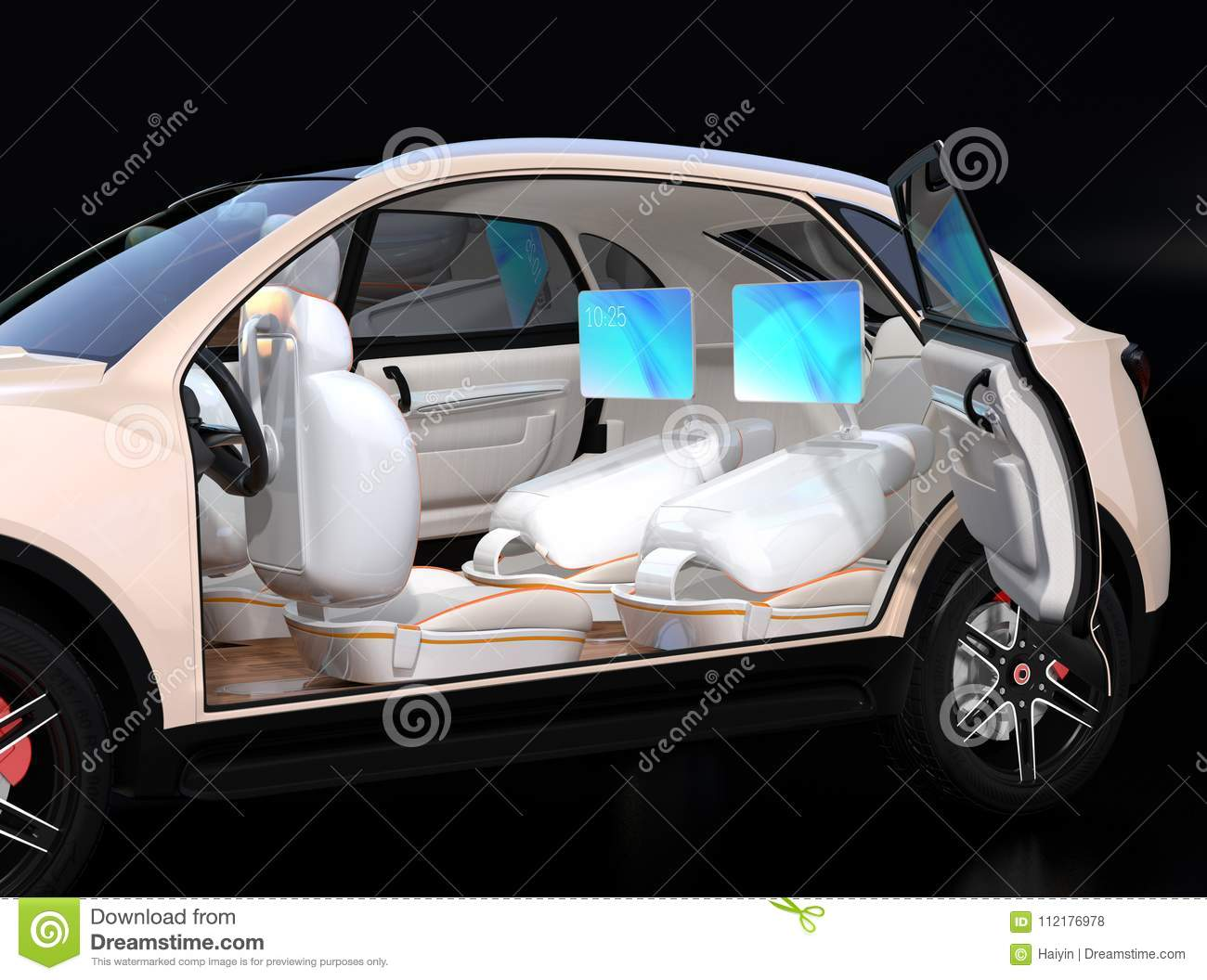 Electric Self Driving Suv Car Interior Design Stock Illustration