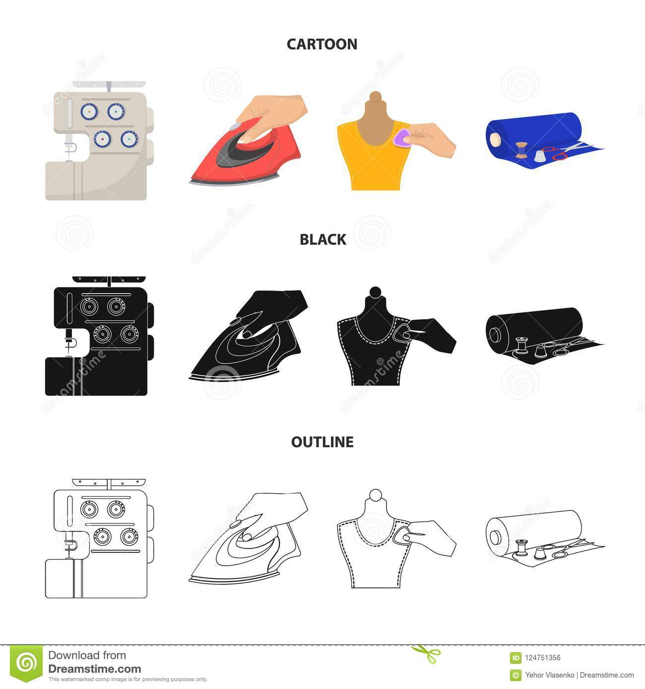 Electric Sewing Machine Iron For Ironing Marking With Chalk Diagram Download Clothes Roll Of