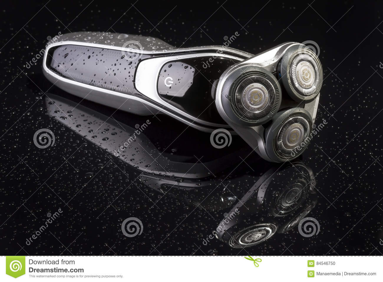 Electric Shaver Closeup On Black Background Stock Photo