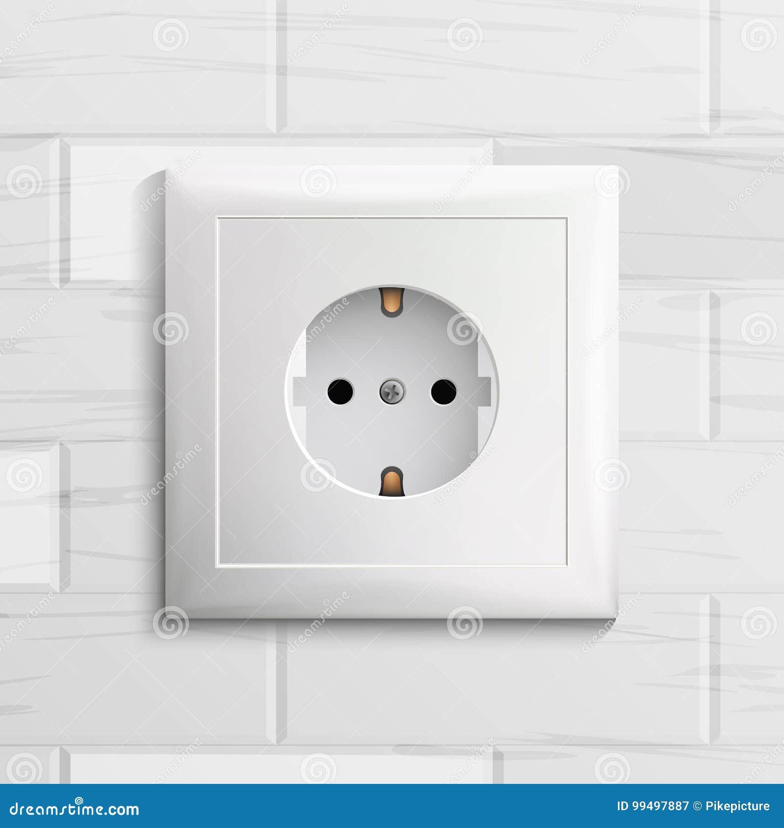 Electric Socket Vector. Plastic Standard Panel. Brick Wall ...