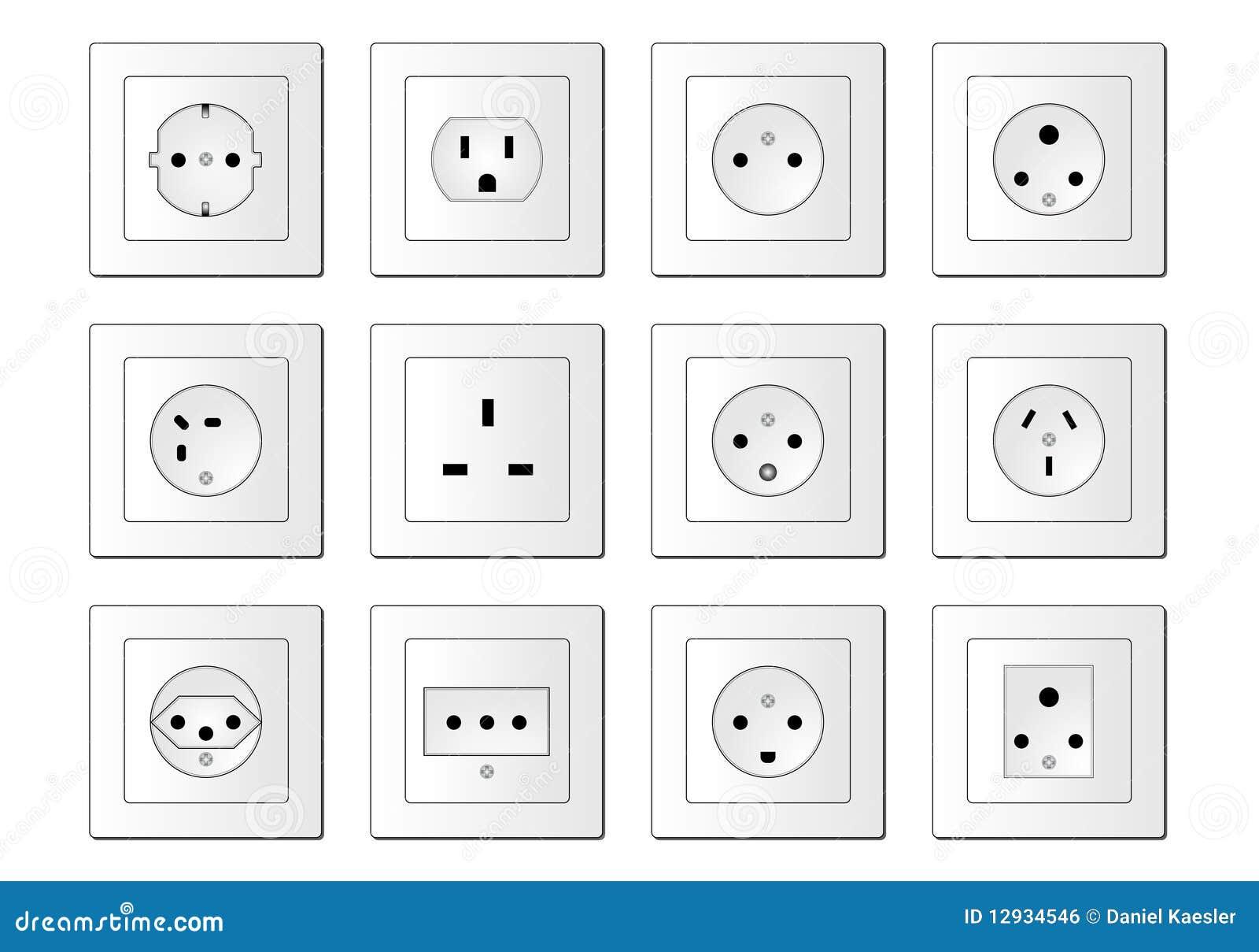 electric sockets worldwide stock vector  image of shock