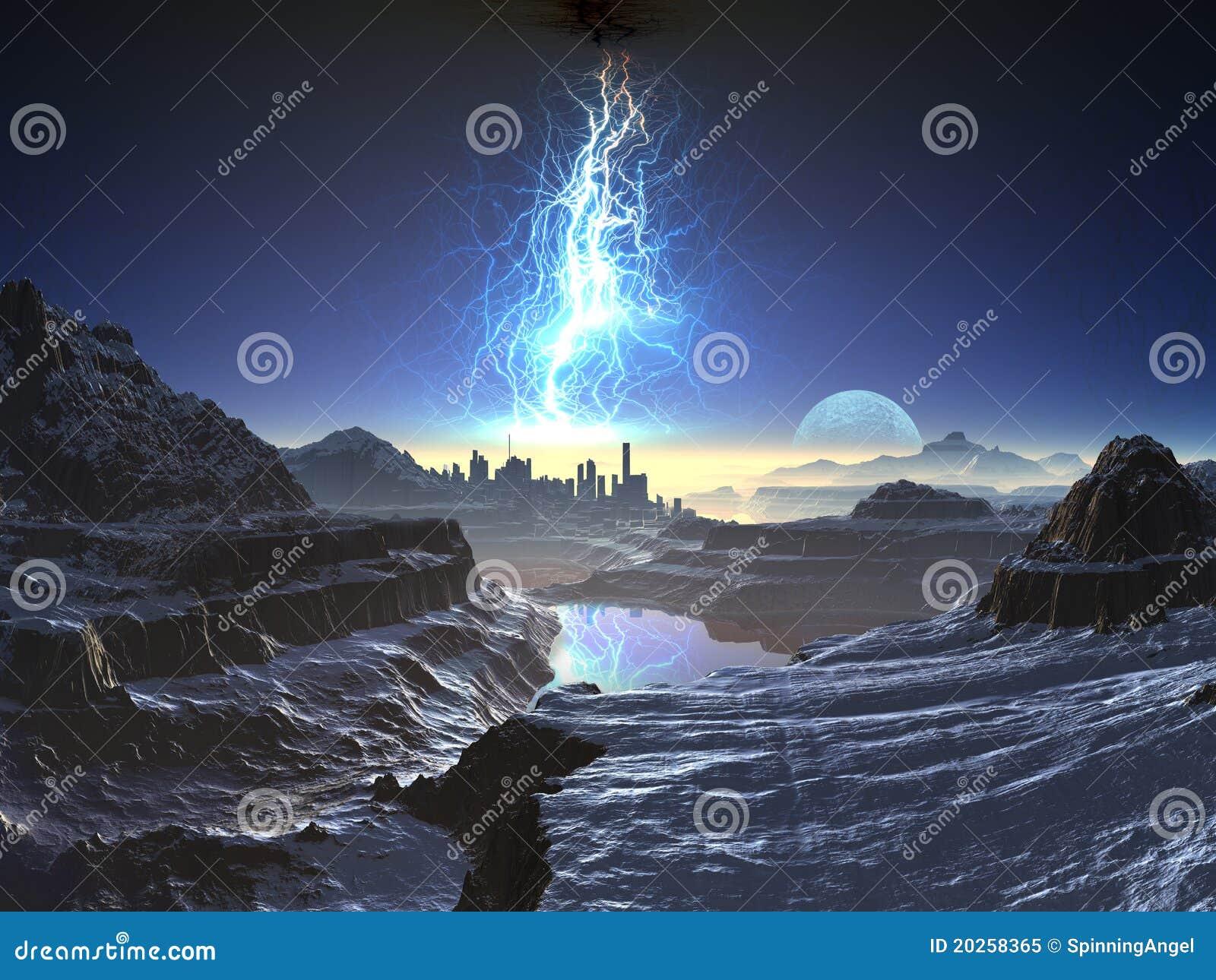 Electric Storm over Distant Alien City