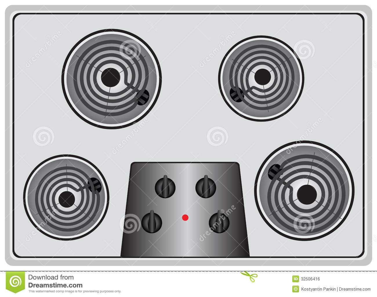 Kitchen Hob Cartoon ~ Electric stove four element royalty free stock image