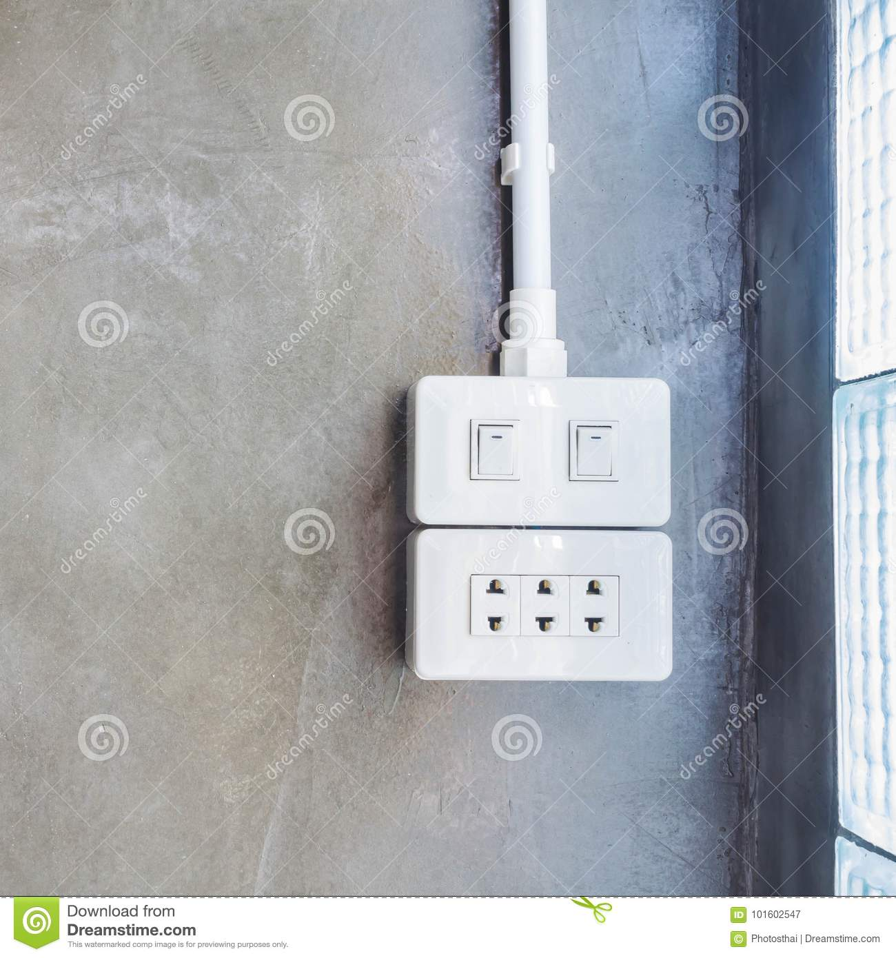 Electric Switch And Plug Circuit On The Concrete Wall Stock Image ...