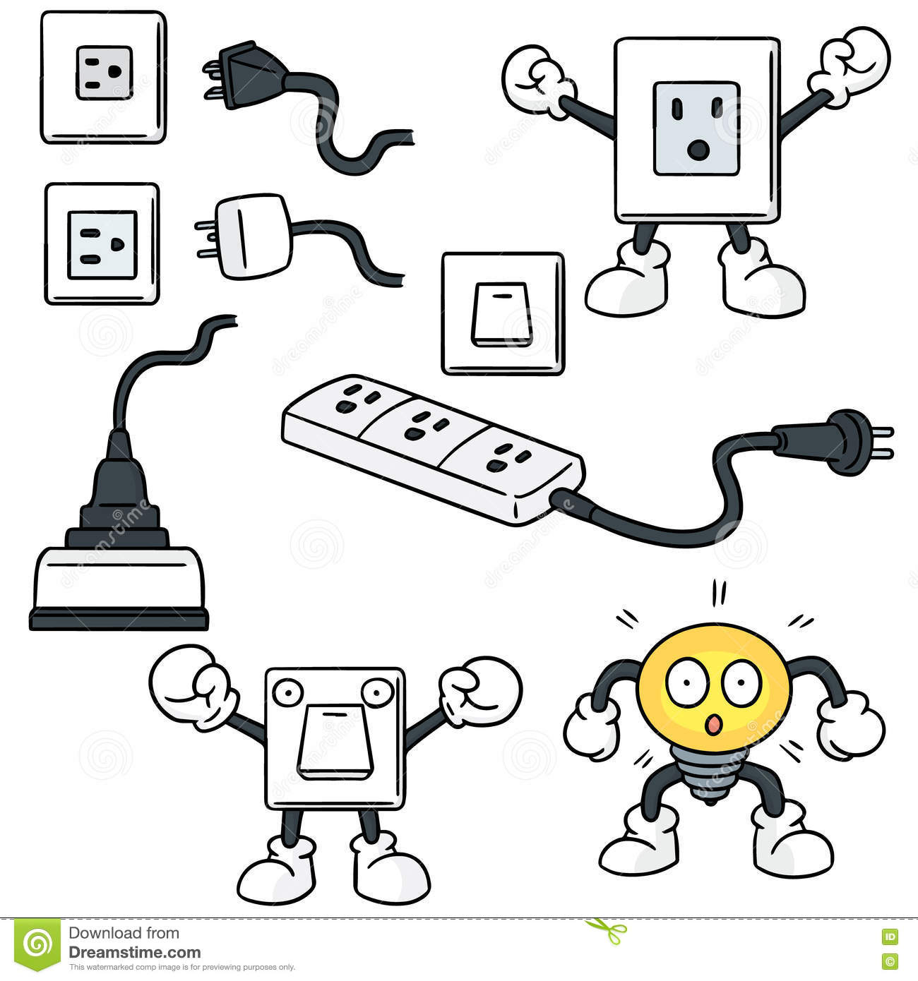 Electrical Wiring Plug Electric Switch And Stock Vector Illustration Of Face 75337558