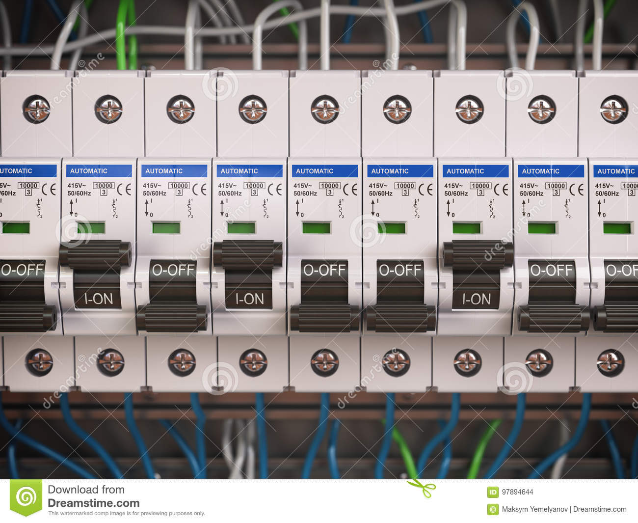 Electric Switches In Fusebox Many Black Circuit Brakers A Ro Breaker Or Fuse Box