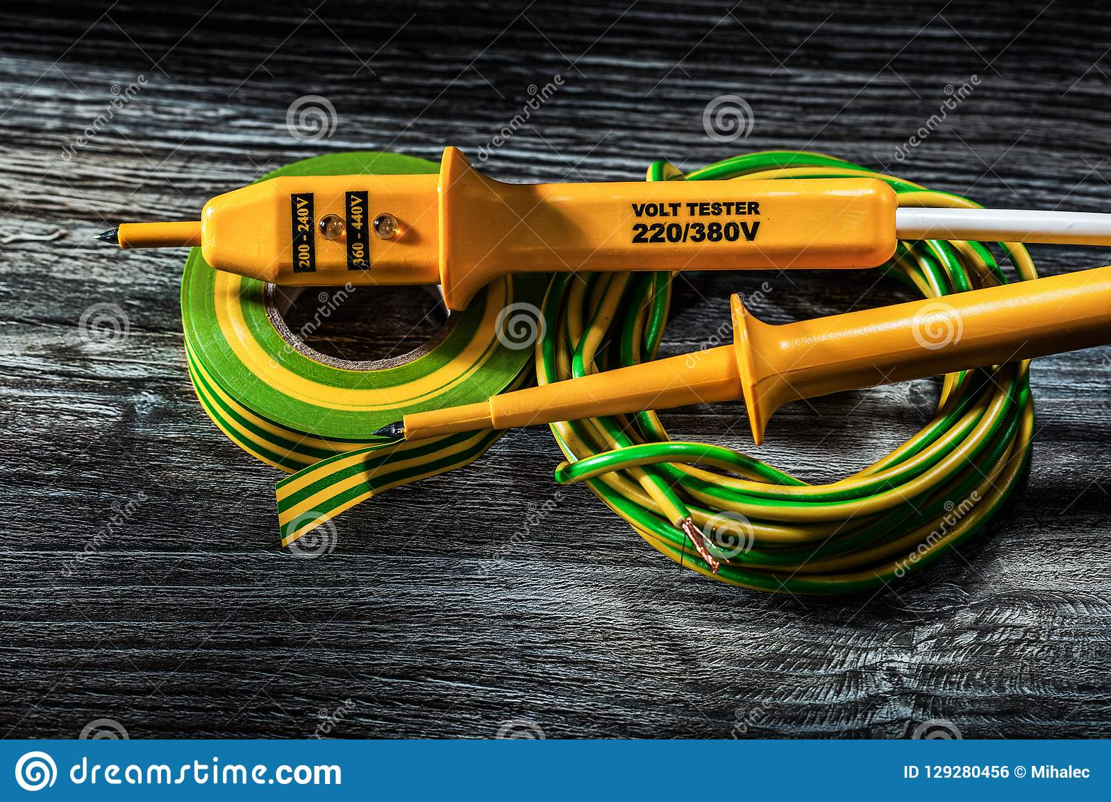 Electric Tester Hunk Of Rolled Cable Electricians Tape On