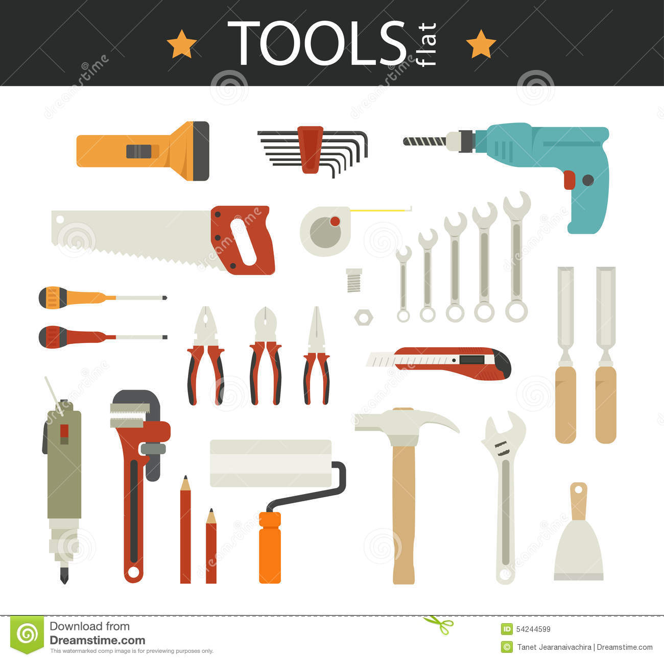 Electric Tool Flat Vector Icons Set Of Wood Stock Vector