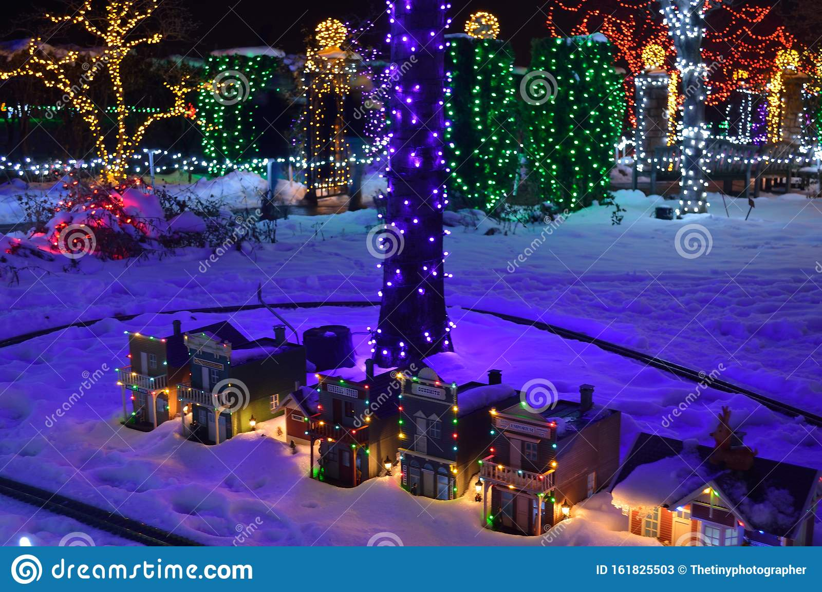 Electric Train Village Christmas Outdoor Scenes Stock Image Image Of Assorted Colorful 161825503