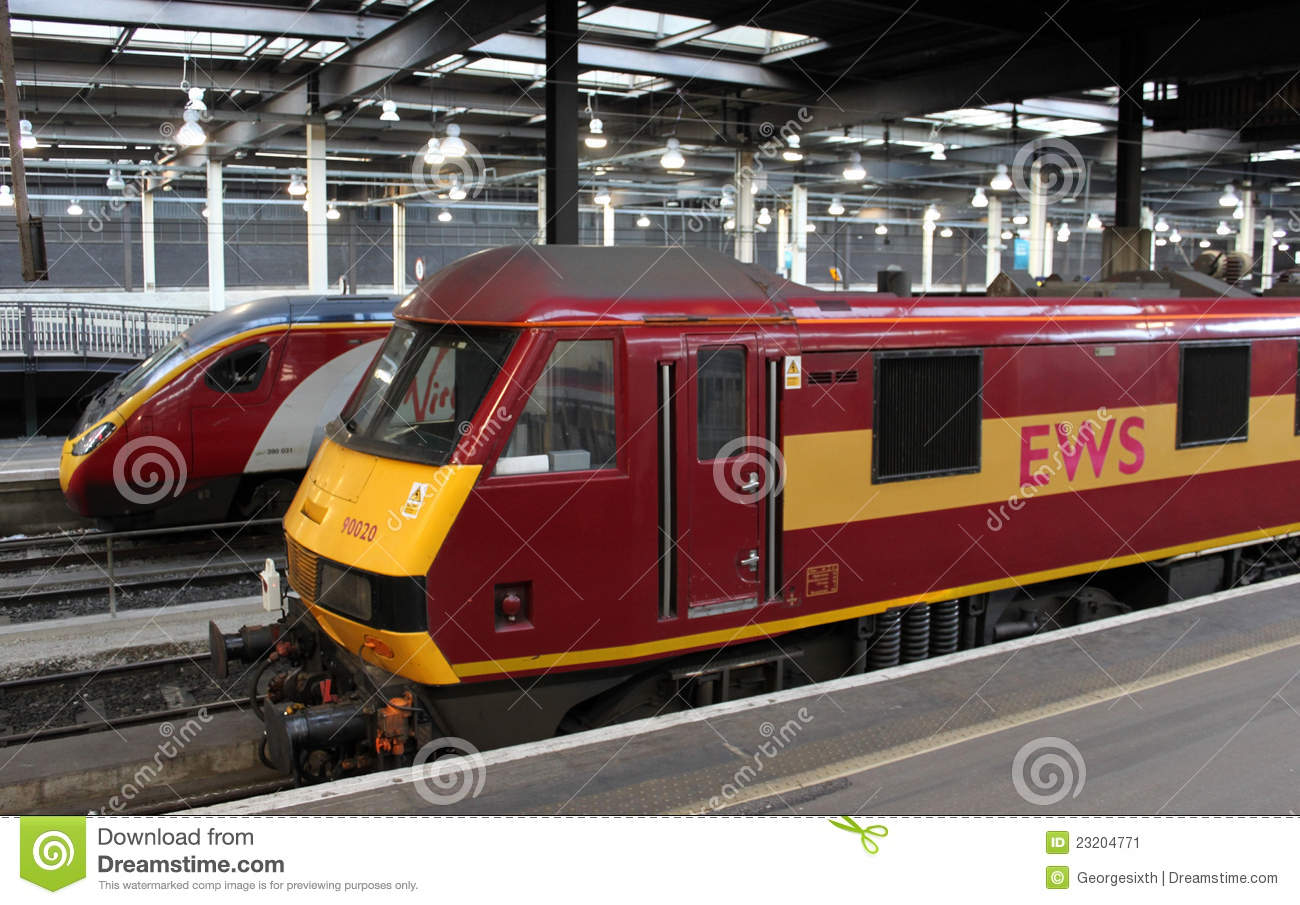 Electric trains at London Euston Station