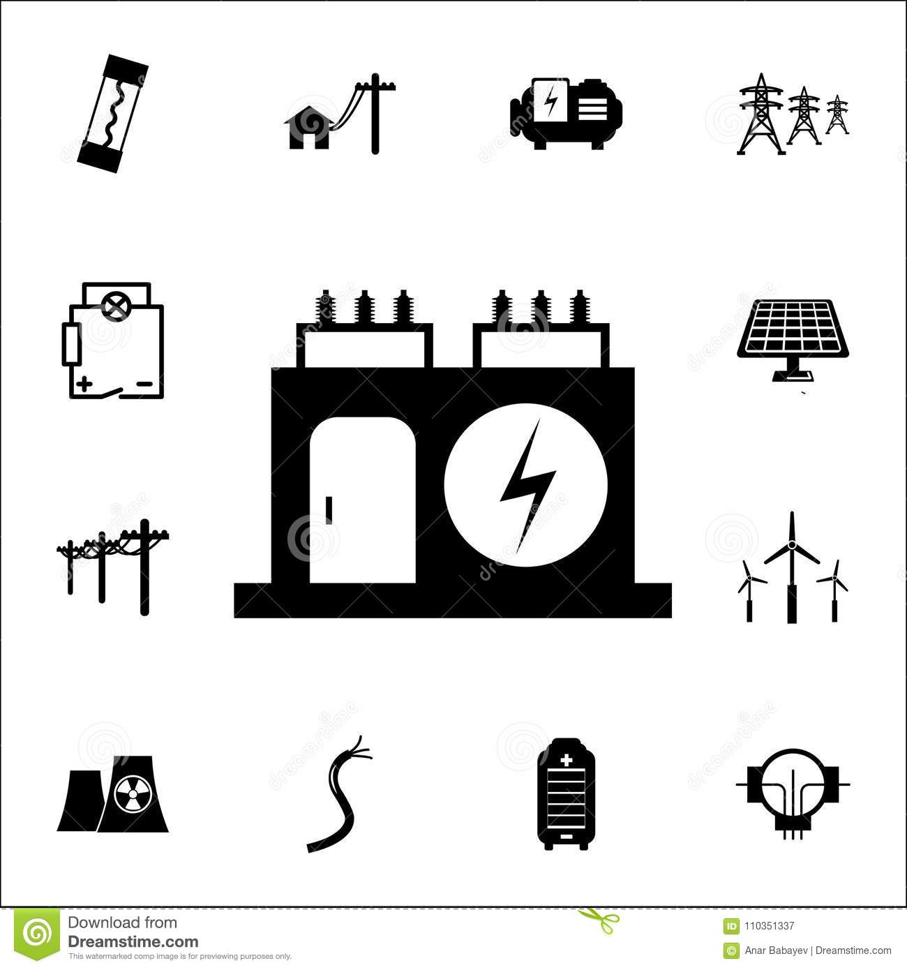 Electric Transformer Icon. Set Of Energy Icons. Premium Quality ...