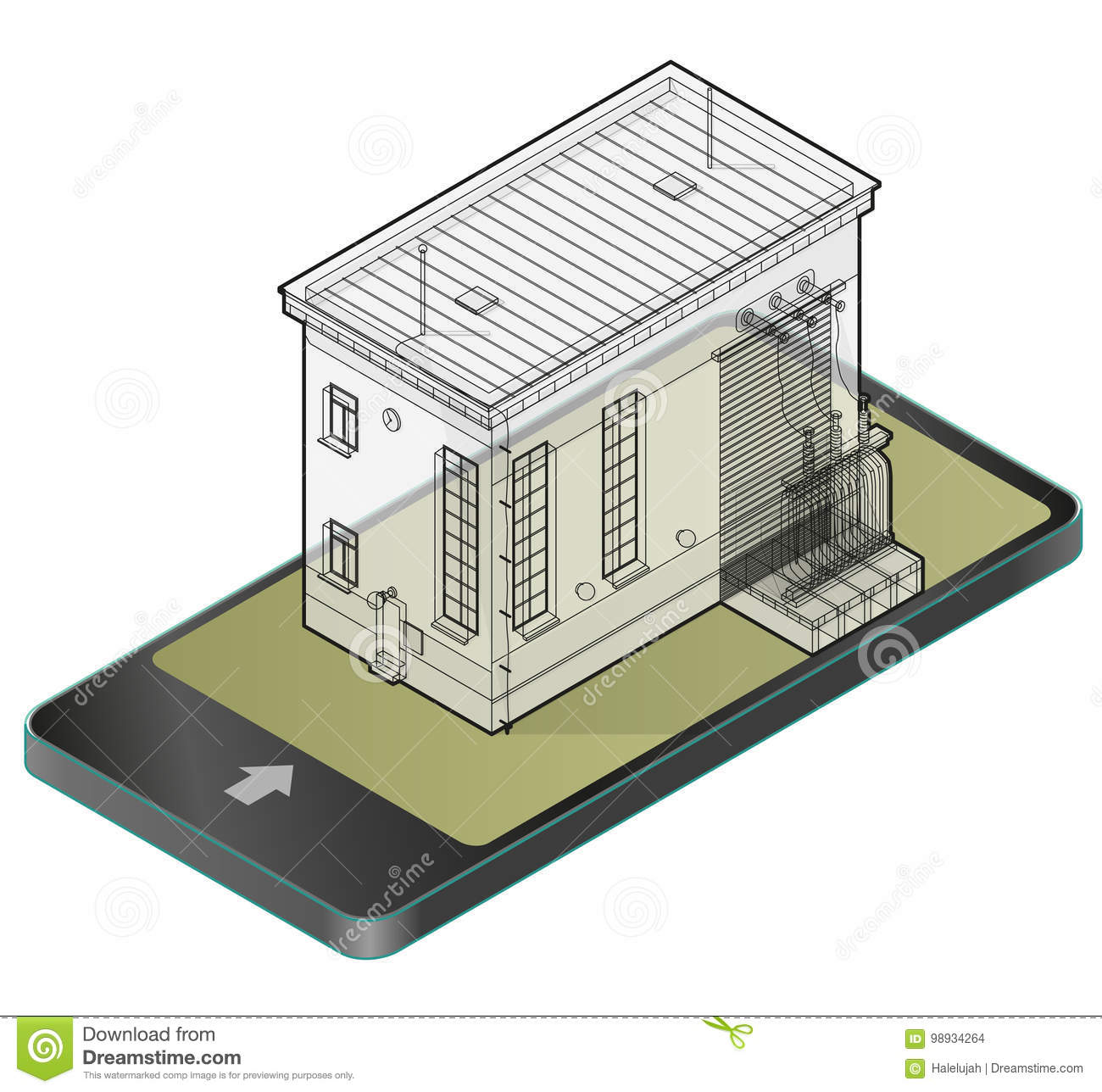 Electric transformer isometric building in mobile phone. Outlined 3d  planning of vector high-voltage