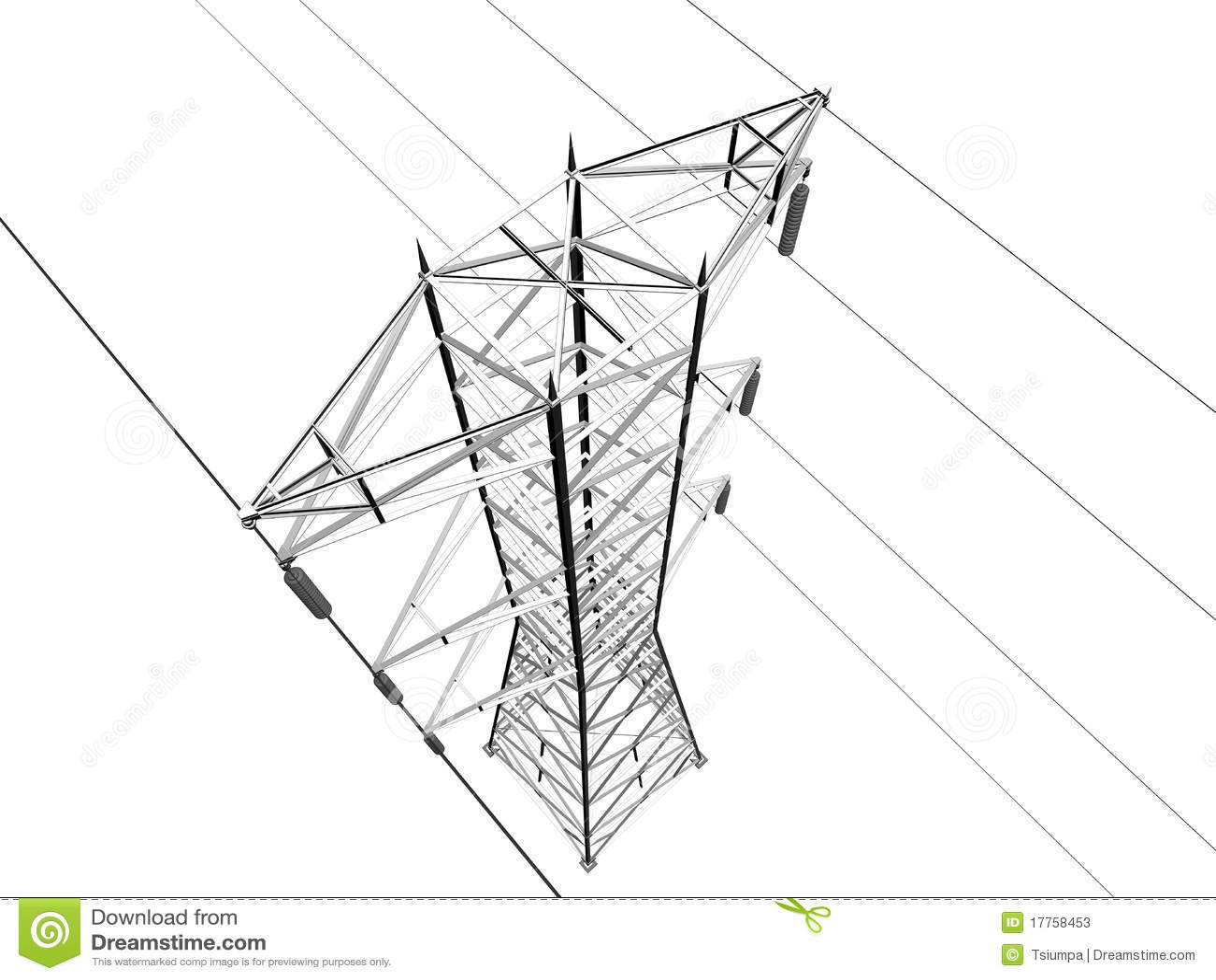 Electric Transmission Line Stock Illustration