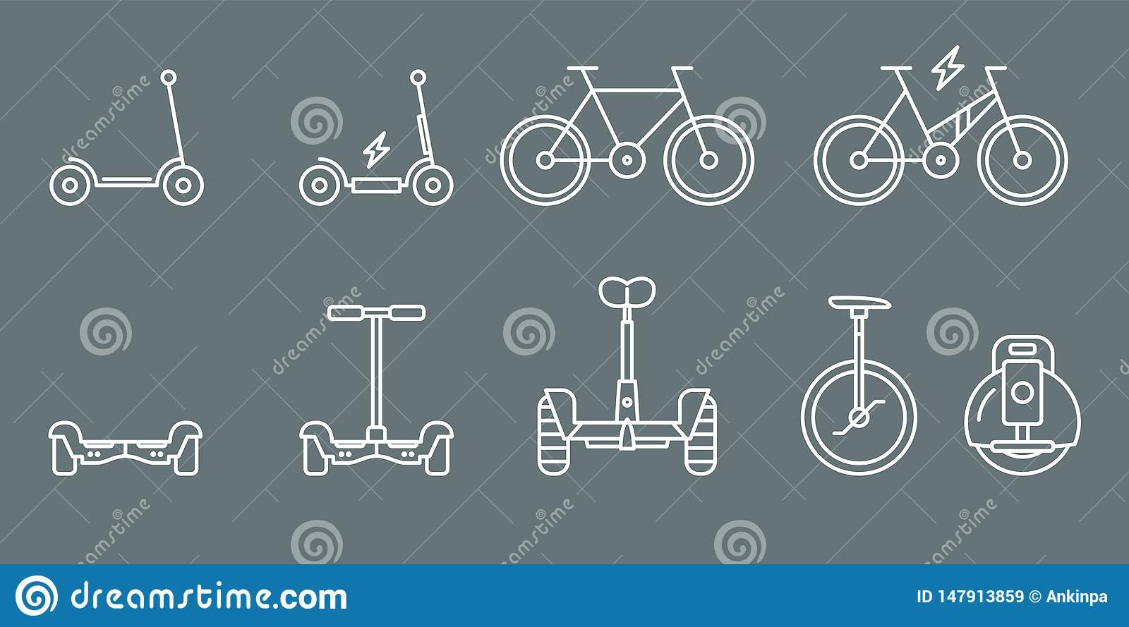 Electric Transport Icons - Set Web and Mobile 01