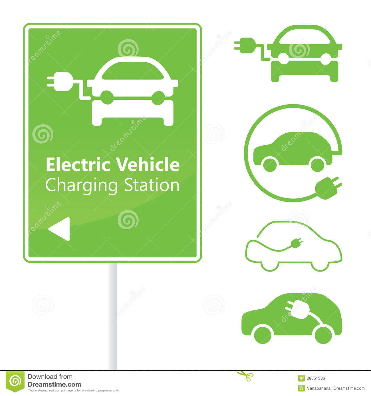 Electric Vehicle Charging Station road sign