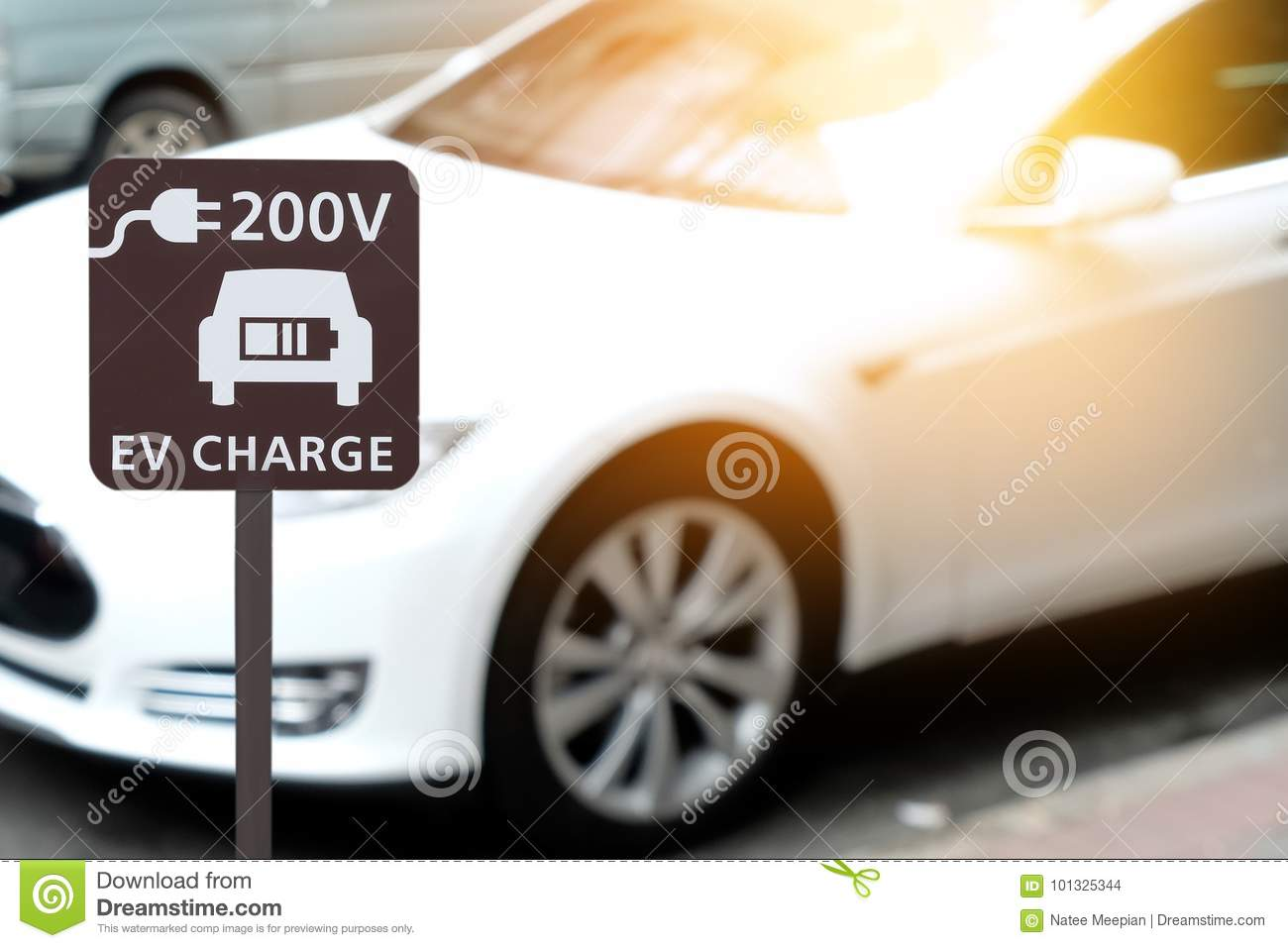 Electric vehicle charging station sign for home with EV car back